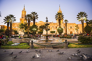 Night at Basilica Cathedral of Arequipa (Basilica Catedral), Plaza de Armas, Arequipa, UNESCO World Heritage Site, Peru, South America