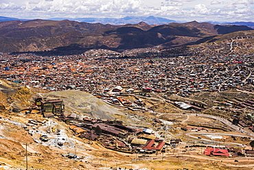View of refinement factory and Potosi from Potosi silver mines, Department of Potosi, Bolivia, South America