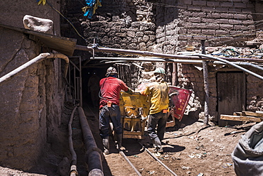 Miners working at Potosi silver mines, Department of Potosi, Bolivia, South America