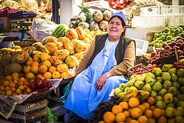 Portrait of a fruit and vegetable vendor, Campesino Market (Mercado Campesino), Sucre, Bolivia, South America