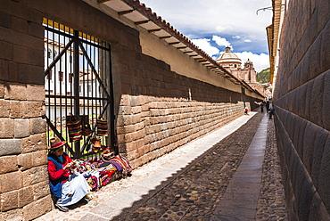 Street vendor selling souvenirs in Cusco, Cusco Region, Peru, South America