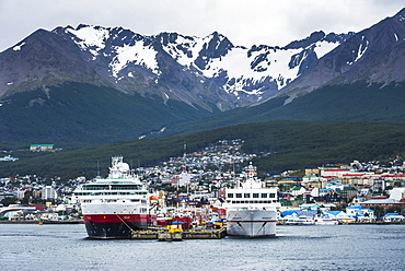 Antarctic cruise ships docked in Ushuaia, Tierra Del Fuego, Patagonia, Argentina, South America