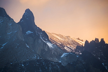 Sunrise, Paine Massif (Cordillera Paine), the iconic mountains in Torres del Paine National Park, Patagonia, Chile, South America