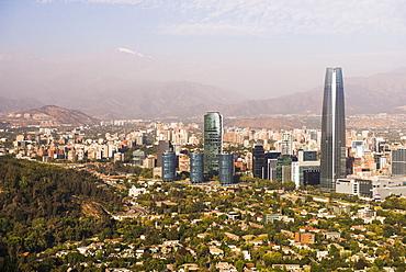 Santiago and Gran Torre Central, seen from San Cristobal Hill (Cerro San Cristobal), Barrio Bellavista (Bellavista Neighborhood), Santiago, Chile, South America