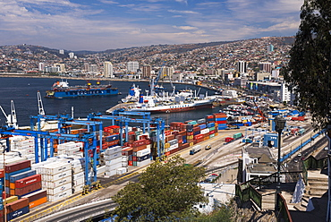 Valparaiso Port, seen from funicular train 21 de Mayo (May 21st), Artillery Hill, Valparaiso Province, Chile, South America