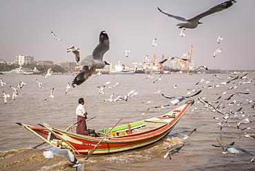 Colourful passenger boat on Yangon River, Yangon (Rangoon), Myanmar (Burma), Asia