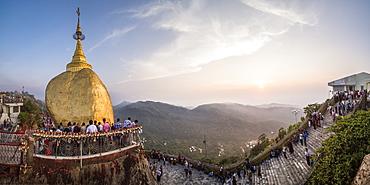 Golden Rock Stupa (Kyaiktiyo Pagoda) at sunset, Mon State, Myanmar (Burma), Asia