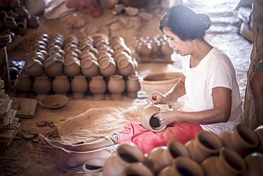 Oh Bo Pottery Shed, Twante, near Yangon, Myanmar (Burma), Asia