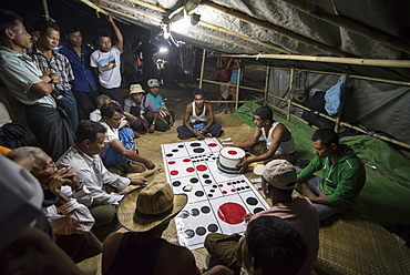 Mrauk U, gambling at Dung Bwe Festival for the passing of an important Buddhist Monk, Rakhine State, Myanmar (Burma), Asia
