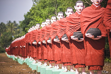 Statues of disciples of Arahant, perfected people who have attained Nirvana, Mawlamyine, Mon State, Myanmar (Burma), Asia
