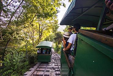 Funicular at San Cristobal Hill (Cerro San Cristobal), Barrio Bellavista (Bellavista Neighborhood), Santiago, Chile, South America