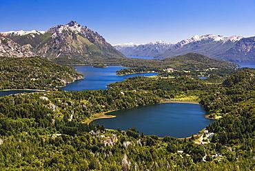 View of Argentinian Lake District and Andes Mountains from Cerro Campanario (Campanario Hill), San Carlos de Bariloche, Rio Negro Province, Patagonia, Argentina, South America