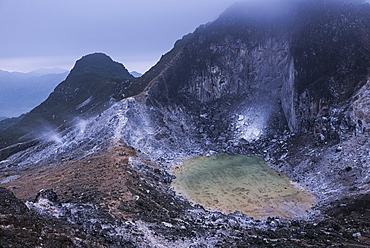 Crater at the top of Sibayak Volcano, an active volcano at Berastagi (Brastagi), North Sumatra, Indonesia, Southeast Asia, Asia