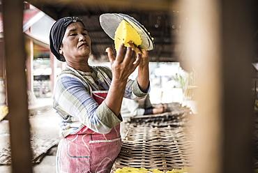 Krupuk (Kroepoek) production, Bukittinggi, West Sumatra, Indonesia, Southeast Asia, Asia