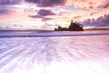 Pungapunga Island at Whangapoua Beach at sunrise, Coromandel Peninsula, North Island, New Zealand, Pacific