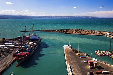Cargo Ship in Napier Port, Hawkes Bay Region, North Island, New Zealand, Pacific