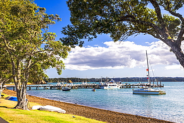 Sailing boats in Russell Harbour, Bay of Islands, Northland Region, North Island, New Zealand, Pacific
