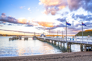Russell Pier at sunset, Bay of Islands, Northland Region, North Island, New Zealand, Pacific