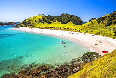 White sandy beach in the Waikare Inlet visited from Russell by sailing boat, Bay of Islands, Northland Region, North Island, New Zealand, Pacific