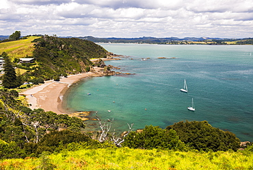 Tapeka Beach seen from Tapeka Point, a popular walk in Russell, Bay of Islands, Northland Region, North Island, New Zealand, Pacific