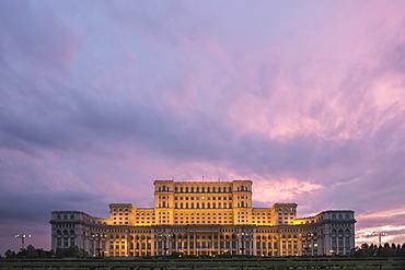 Palace of the Parliament at sunset, Bucharest, Muntenia Region, Romania, Europe