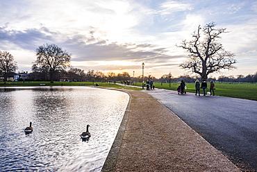 Lake, Clapham Common at sunset, Lambeth Borough, London, England, United Kingdom, Europe