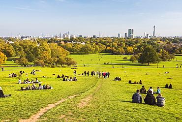 London City Skyline in autumn seen from Primrose Hill, Chalk Farm, Borough of Camden, London, England, United Kingdom, Europe