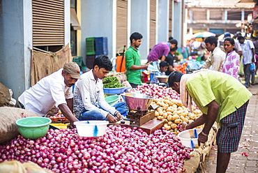 Vegetables for sale in Mapusa Market, Goa, India, Asia