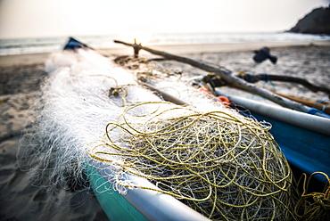 Fishing nets at sunset, Talpona Beach, South Goa, India, Asia