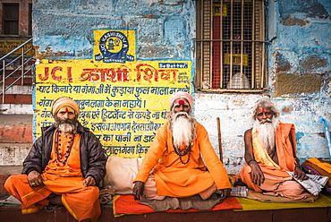 Sadhus (Indian Holy Men) in Varanasi, Uttar Pradesh, India, Asia