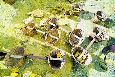 Kawah Ijen, empty sulphur baskets waiting to be filled, East Java, Indonesia, Southeast Asia, Asia