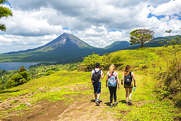 Hiking towards Arenal Volcano, Alajuela Province, Costa Rica, Central America