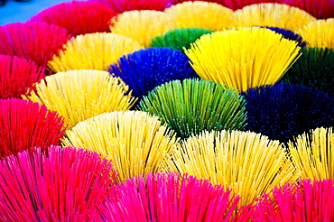 Colourful multicoloured incense sticks in Hue, Vietnam, Indochina, Southeast Asia, Asia