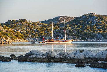 Gulet sailing boat cruise, Antalya Province, Lycia, Anatolia, Mediterranean, Turkey, Asia Minor, Eurasia