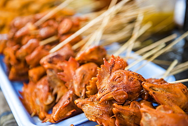 Chicken heads for sale at Ywama Market, Inle Lake, Shan State, Myanmar (Burma)