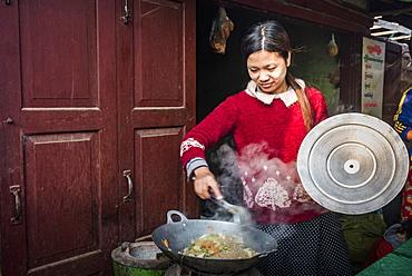 Fruit and vegetable market at Pindaya, Shan State, Myanmar (Burma), Asia