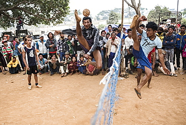Chin Lone, traditional sport in Myanmar played with a bamboo ball, Pindaya Cave Festival, Shan State, Myanmar (Burma), Asia