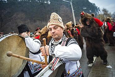 New Year Bear Dancing Festival, Comanesti, Moldova, Romania, Europe