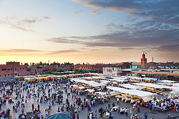View of the Djemaa el Fna at sunset, Marrakech, Morocco, North Africa, Africa