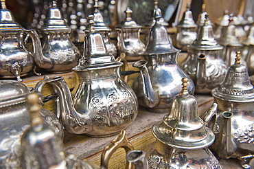 Traditional metal Moroccan mint tea pots for sale in the souks in the old Medina, Marrakech, Morocco, North Africa, Africa