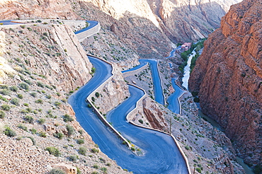 Steep winding road up the Dades Gorge, Dades Valley, Morocco, North Africa, Africa