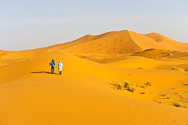 Two Berber men walking in the sand dunes of Erg Chebbi Desert, Sahara Desert near Merzouga, Morocco, North Africa, Africa