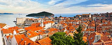 Dubrovnik Old Town and Lokrum Island from Dubrovnik City walls, Dalmatian Coast, Adriatic, Croatia, Europe