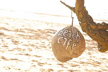 Beach Cafe written on a coconut on Gili Trawangan, Gili Isles Archipelago, Indonesia, Southeast Asia, Asia