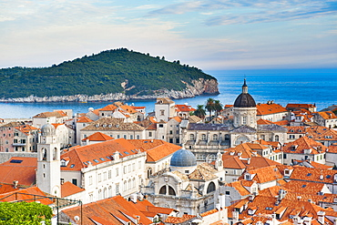 Dubrovnik Cathedral and Lokrum Island elevated view, Old Town, UNESCO World Heritage Site, Dubrovnik, Dalmatian Coast, Adriatic, Croatia, Europe