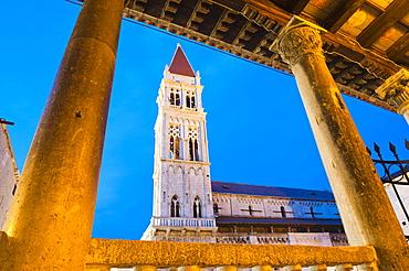 St. Lawrence Cathedral (Katedrala Sv. Lovre) at night, Trogir, UNESCO World Heritage Site, Dalmatian Coast, Croatia, Europe