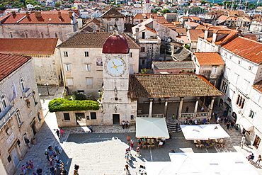 Loggia and St. Lawrence Square viewed from the Cathedral of St. Lawrence, Trogir, UNESCO World Heritage Site, Dalmatian Coast, Croatia, Europe