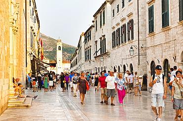 Dubrovnik City Bell Tower on Stradun, Old Town, UNESCO World Heritage Site, Dubrovnik, Dalmatia, Croatia, Europe