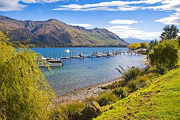 Lake Wanaka harbour sailing boats, Wanaka, South Island, New Zealand, Pacific