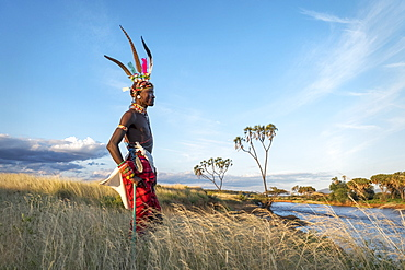 Portrait of a Samburu tribal member, Ewasi Ngiro River, traditional clothing, Kenya, East Africa, Africa